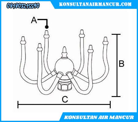 Ukuran nozzle air mancur rotating nozzle