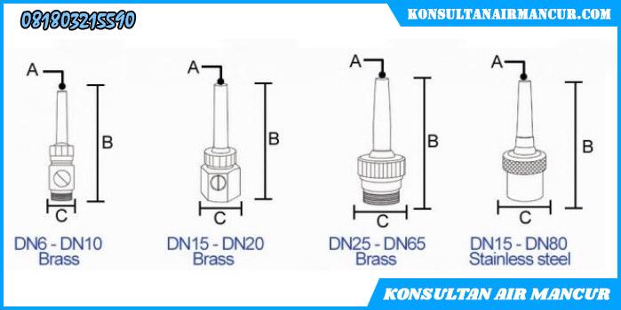 Ukuran Nozzle air mancur single shooting