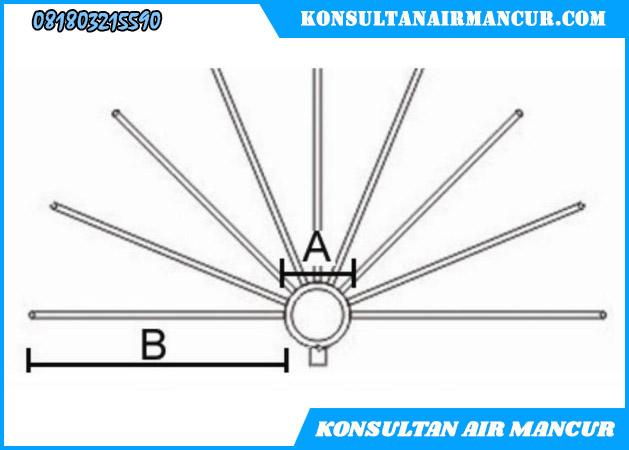 Ukuran diameter nozzle air mancur bulat hemisphere crystal